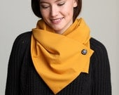 Mustard Scarf , Special Fashion Scarf , Buttoned Scarf , Special Scarf , Mustard Scarf with button