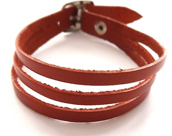 Red Three Strap Banded Real Leather Bracelet, With Quality Buckle Fastener.