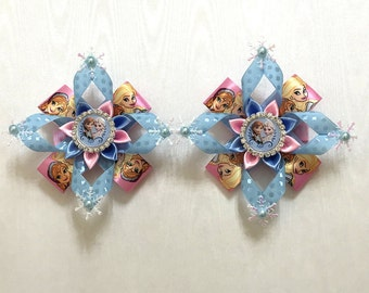 Disney Inspired Frozen Hairclips with Princess Ana and Queen Elsa - Handmade