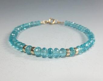 Apatite Bracelet, 14k Gold Fill, Stacking Bracelet, Skinny Bracelet, Layering Bracelet Apatite Jewelry, Teal Gemstone Bracelet (#2173)