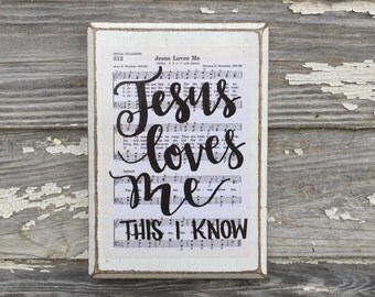 Jesus Loves Me Hymn Board hand lettered wood sign