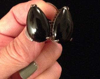 SUMMER SALE!  Gorgeous Antique Onyx & Silver Screwback Earrings