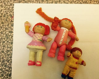 3 vintage cabbage patch kids  80's plastic figures figurines