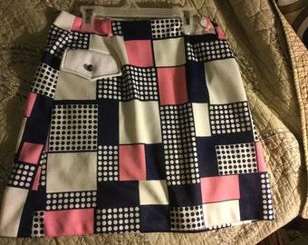 Vintage mod polyster mini skirt David Smith medium polka dots inner shorts