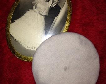 Vtg 60's POET RETRO cream beret hat S