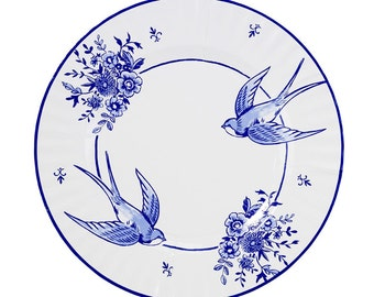 8 big servingParty Porcelain Blue paper plates - Charm, Christmas or New years eve party