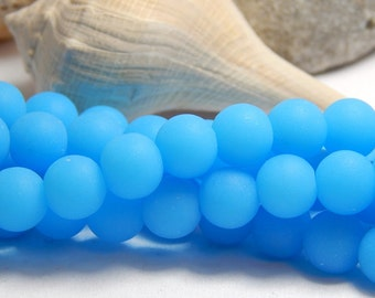 8mm Opaque Blue Sea Glass Beads, Sea glass Beads, Blue Round Beads, Blue Beads, Blue Matte Beads, 8mm Blue Beads, Blue Frosted Beads  D-E29