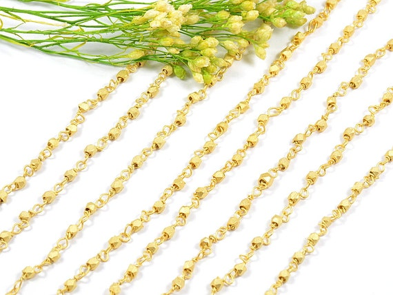 5 FT - 2.5mm Matte Gold Rosary Chain with Faceted Bead,Brushed Gold Chain, Brass Diamond Cut Metal Bead Rosary Chain - 5FT/ order