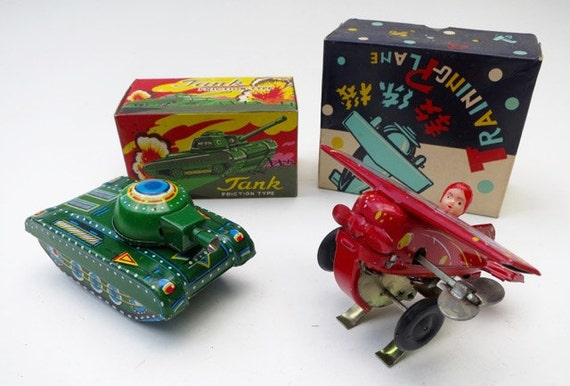 Vintage Chinese Tin Litho Army Tank and Training Plane