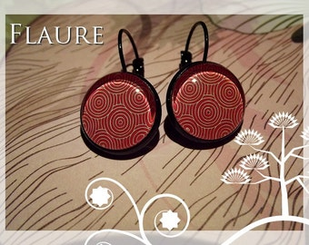 "Earrings ""red spirals"""