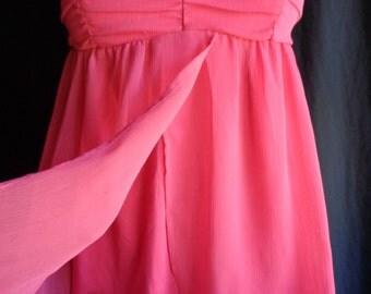 Vintage blouse top pink chiffon tiny spaghetti straps