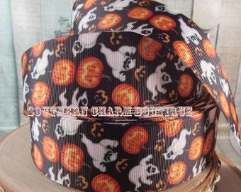 "3 yards of 1 1/2"" ghost and pumpkins halloween grosgrain ribbon"
