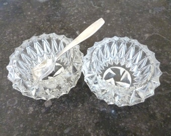 Vintage French Glass Salt and Pepper Cellar