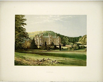 Mamhead (Near Exmouth) Devonshire, England * 1880 Vintage Antique Castle Lithograph * Landscape Beautiful!