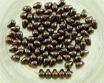 40pcs Metallic Bronze Czech Glass Small Teardrop Beads 4mm X 6mm
