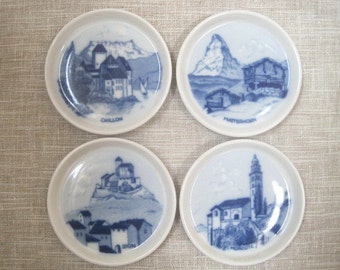 "4 Blue & White Swiss Landscape Wall Plaques 3.5"" Vintage S Christian San Francisco, CA Scandinavian Style Porcelain"