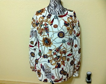 1980's Rayon Blouser-Maggie McNaughton-baroque style blouse;Gold,Brown,Red,and Green -Shoulder Pads-Size 22 Carrer Blouse