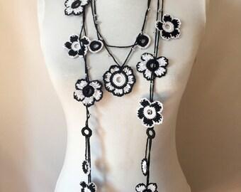 Black And White Lariat Crochet Necklace, Turkish Oya, Handmade Crochet Floral Beaded Jewelry, Foulard Fleurs, Teenage Girls Gift