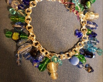 Bracelet, chain link with various beads and colors