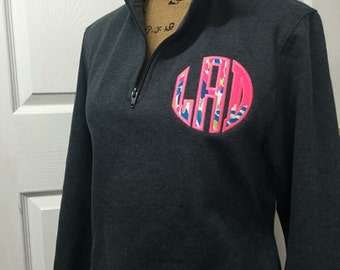 1/4 Zip Personalized Applique Monogram (Lilly Pulitzer Fabric)