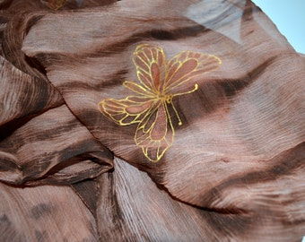 hand painted scarf , Brown Scarf Silk scarf ruffled Hand Dyed - silk scarf , golden brown natural silk .Ready to ship.