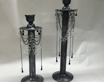flameworked glass and steel candelabra