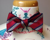 Self-tie reversible bowtie - two sided red wtih stripes and royal blue