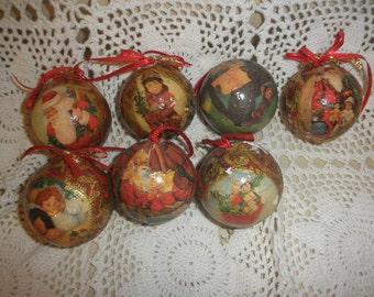 Christmas Balls Foil Decoupage  Hanging Tree Ornaments