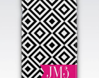Case for iPhone 8, iPhone 6s,  iPhone 6 Plus,  iPhone 5s,  iPhone SE,  iPhone 5c,  iPhone 7,  Black White & Pink Monogrammed