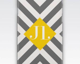 Case for iPhone 8, iPhone 6,  iPhone 6 Plus,  iPhone 5,  iPhone SE,  iPhone 5c,  iPhone 7,  Grey White & Yellow Chevron Stripe Monogram