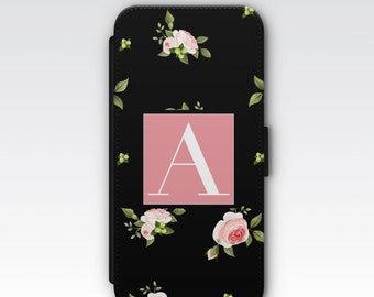 Wallet Case for iPhone 8 Plus, iPhone 8, iPhone 7 Plus, iPhone 7, iPhone 6, iPhone 6s, iPhone 5/5s - Black & Pink Roses Floral Monogram Case
