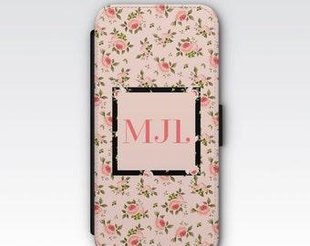 Wallet Case for iPhone 8 Plus, iPhone 8, iPhone 7 Plus, iPhone 7, iPhone 6, iPhone 6s, iPhone 5/5s - Pink Ditsy Rose Floral Monogram Case