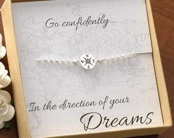 Compass Charm Bracelet - or anklet - Travel - Mile Stone - Graduation - Achievement - - sterling silver compass bracelet