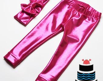 Metallic Hot Pink Leggings and Headband set Baby/Toddlers/Girls
