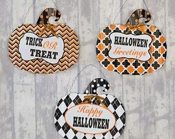 Halloween Pumpkin Hanger - Halloween Pumpkin Door Hanger - Halloween Metal Wall Hanger