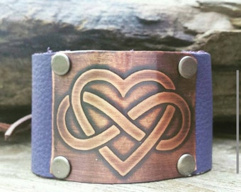 Leather Cuff Bracelet with Copper Etched Infinity Heart Design- Custom Hand Made Cuff