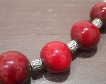 Handmade ceramic necklace, balls beads, dark red enamel, pottery