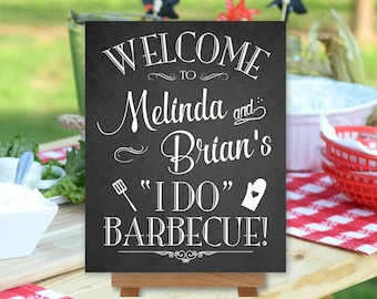 I Do Barbecue Sign Printable, BBQ, Chalkboard Style, Welcome Sign, Personalized with Names (#BBQ1C)
