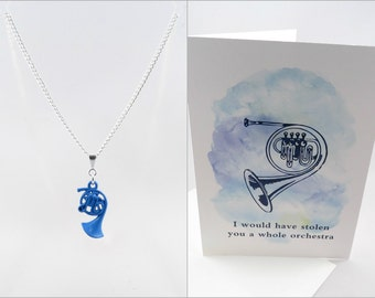 Blue French Horn Necklace & Card