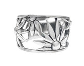 Flower Ring~ Sterling Silver Ring~Boho Ring~  Size 6 7 8 Gift Boxed, Guaranteed Impulse18K