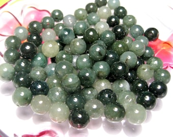 20pcs A Grade Natural Undyed Translucent Jadeite Beads 8mm Green Round Natural Stone Beads