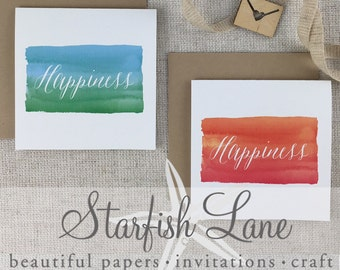 Happiness Card Pack/ 6 cards 99mmx99mm when folded & 6 Envelopes