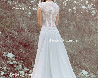 Chiffon wedding gown etsy designer wedding gown bohemian wedding dress lace back dress from chiffon made to order junglespirit Choice Image