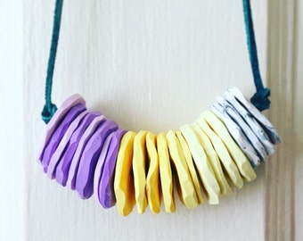 """Colorful Carved """"Stone"""" Necklace"""