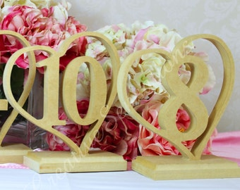 FREESTANDING Heart Wedding Table Numbers RAW 170mm High Wooden number mdf NEW Cafe