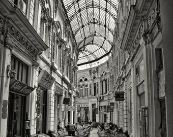 Fine Art Print - Architectural Photograph of The Passage Villacross and Cafes in Bucharest, Romania