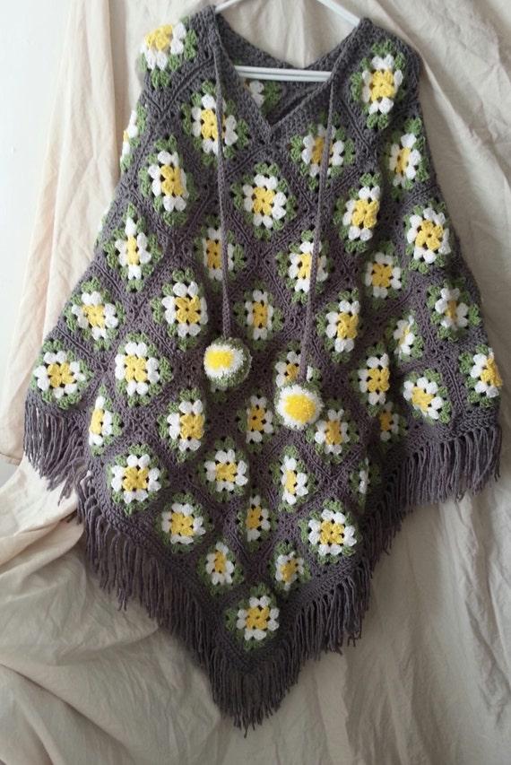 Crocheted Granny Square Poncho Retro Granny By