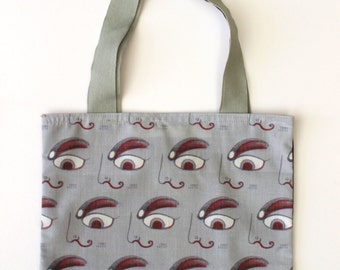 tote bag, mini tote bag, shopping bag, bag, bag has hand, bag illustrated, graphic bag, eye, unique and original bag tote bag, accessory