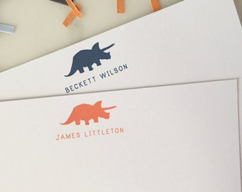 Dinosaur Stationary - Boys Personalized Stationery Set of 20 Flat Thank You Note Cards
