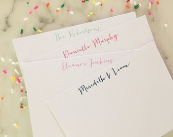 Personalized Calligraphy Stationery -  Stationary Set of 20 Flat Note Cards